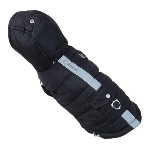 μπουφάν για σκύλους με κουκούλα μαύρο